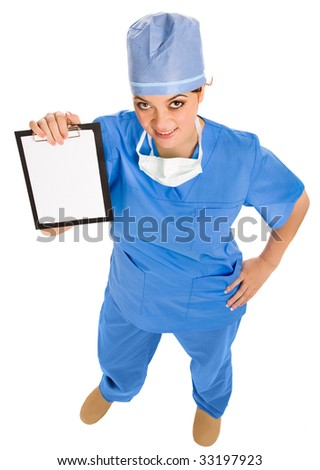 smiling female doctor with board in hand. view from above - stock photo