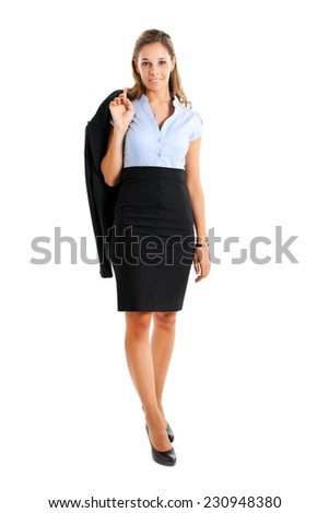Smiling female manager on white background