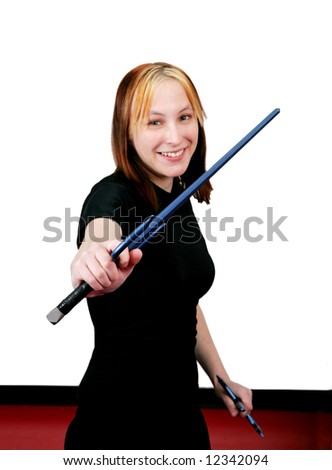 smiling female mma student with sai weapons ready to fight