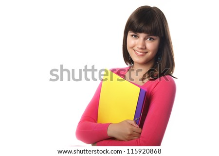 Smiling female student with folders isolated on white - stock photo
