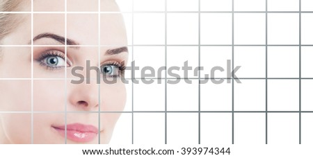Smiling female with fresh and flawless skin with copypaste and studio design applied as beauty and healthcare concept - stock photo