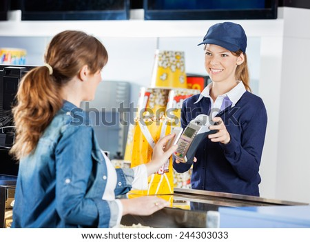 Smiling Female Worker Accepting Payment Woman Stock Photo 244303033 ...