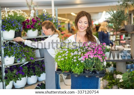 Smiling female worker carrying crate full of flower plants with colleague working in background - stock photo