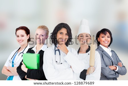Smiling female workers in various industries