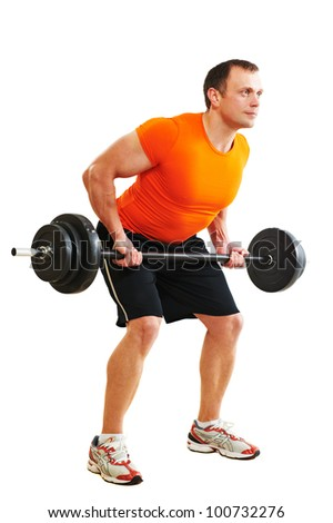 Smiling fitness bodybuilder man at back muscles exercises with training dumbbells weight isolated on white