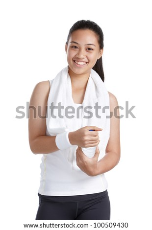smiling fitness girl isolated on white background - stock photo