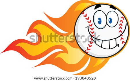 Smiling Flaming Baseball Ball Cartoon Character. Raster Illustration Isolated on white - stock photo