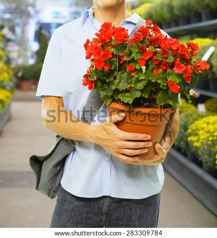 smiling florist - stock photo