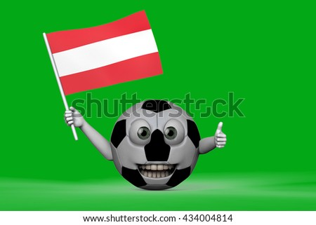 Smiling Football with austrian flag 3D rendering