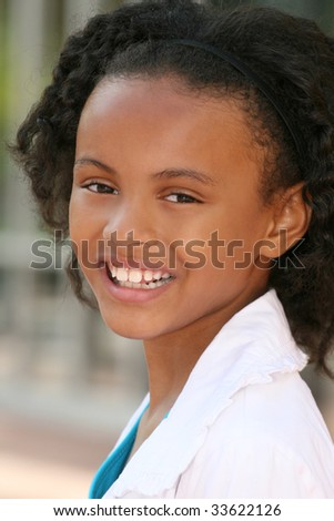 Smiling, friendly, african american teenager girl, portrait