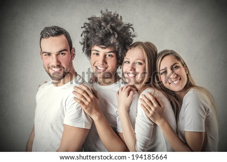 smiling friends - stock photo