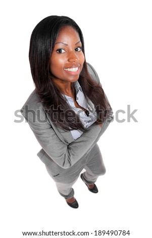 Smiling full length black businesswoman isolated on white
