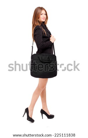 Smiling full length businesswoman portrait isolated on white