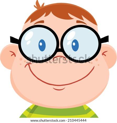 Smiling Geek Boy Head. Raster Illustration Isolated on white - stock photo