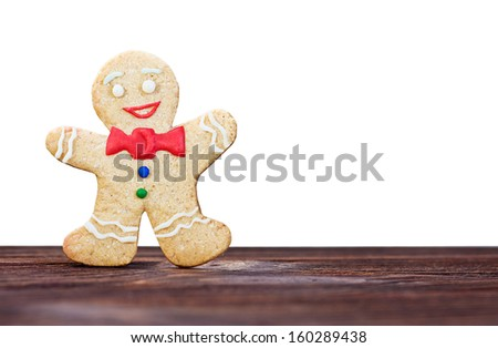 Smiling gingerbread men on a white background isolated - stock photo