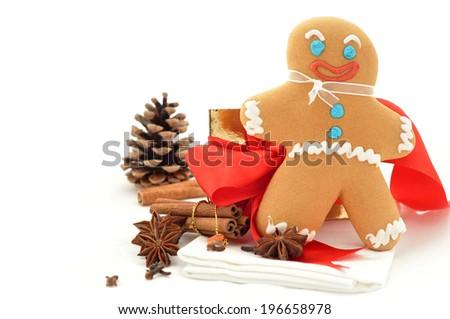 Smiling gingerbread men on white background - stock photo