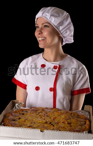 smiling girl chef with pizza in hands