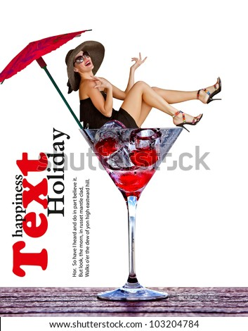 Smiling girl fall in martini glass - stock photo
