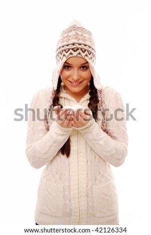 Smiling girl holding snow balls - stock photo