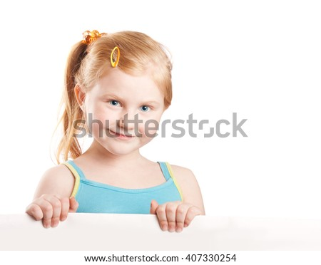 Smiling girl holding white sheet of a paper, isolated on white - stock photo