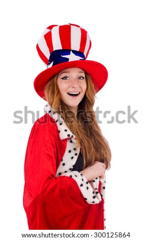Smiling girl in american hat and royal coat isolated on white