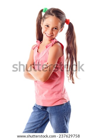 Smiling girl in pink dress, isolated on white - stock photo