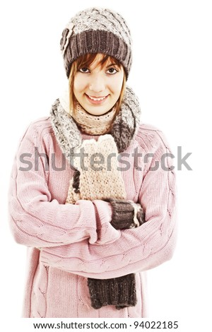 Smiling girl in winter style. Isolated on white background - stock photo
