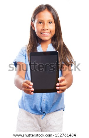 smiling girl showing the tablet on a white background - stock photo