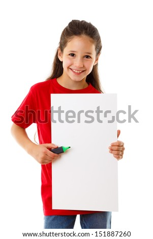 Smiling girl standing with empty vertical blank in hands, isolated on white - stock photo