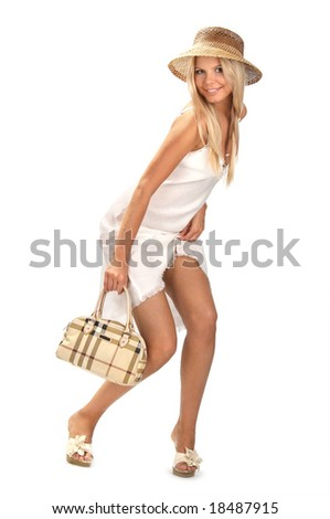 smiling girl with a bag on white background