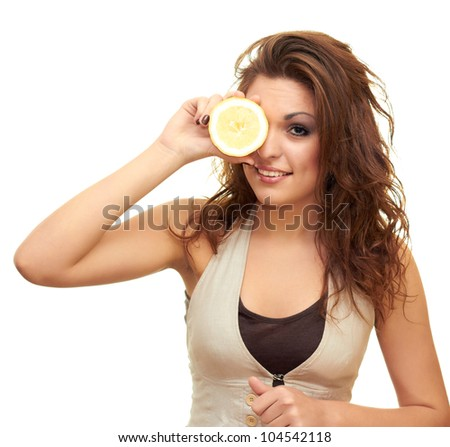 smiling girl with a lemon