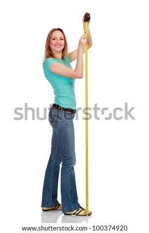 Smiling girl with a tape measure, isolated on white background