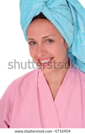 smiling girl with a towel turban on her head