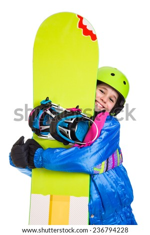 Smiling girl with green snowboard, isolated on white - stock photo