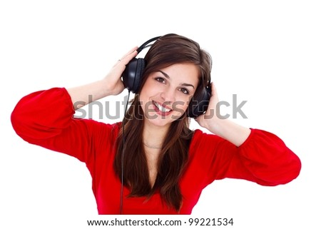 Smiling girl with headphones over white background