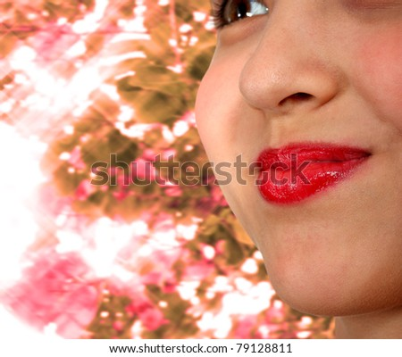 Smiling Girl With Red Lipstick and Sparkling Sunlight Background - stock photo