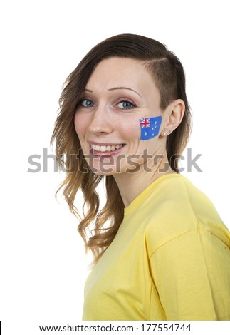 Smiling Girl with the flag of Australia on her cheek