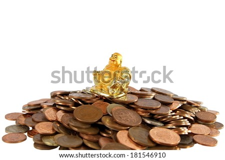 Smiling Golden Buddha Statue on heap of different coins on white background. - stock photo