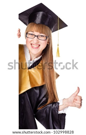 Smiling Graduation Student Holding a Blank Sign. Isolated over white - stock photo