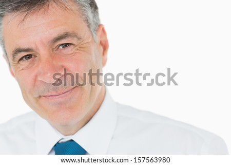 Smiling grey haired businessman in shirt and tie - stock photo