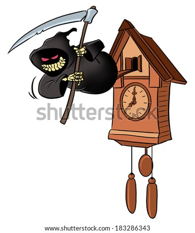 Smiling grim reaper from cuckoo-clock