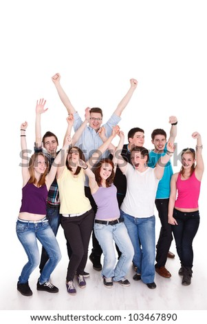 Smiling group of young friends having fun - stock photo