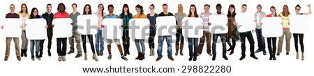 Smiling group of young multi ethnic people holding copyspace for twelve letter or text isolated on white