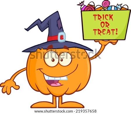 Smiling Halloween Pumpkin With A Witch Hat Holds A Box With Candy . Raster Illustration - stock photo