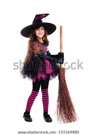 smiling halloween witch  holding broom isolated on white full length