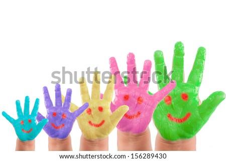 smiling hands symbolic rising up - stock photo