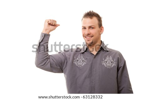smiling handsome man standing on white background