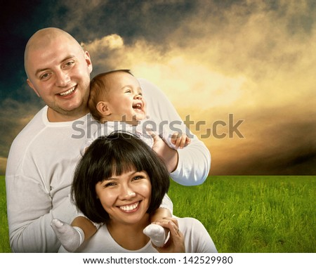 Smiling happiness family outdoor