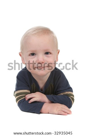 Smiling Happy Baby Boy With Arms Crossed