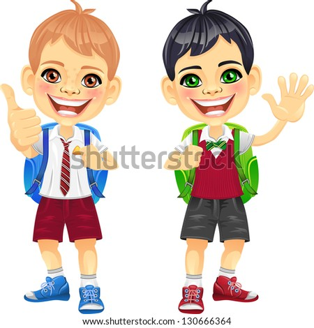 Smiling happy brunette and brown schoolboys in a school uniform with a school backpack